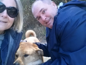 Angela, Chewie, and Jim out geocaching in AL