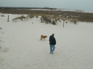 Jim with Chewie - they were like to kids rushing to the edge of the water