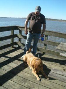 Jim and Chewie taking a short break along the boardwalk