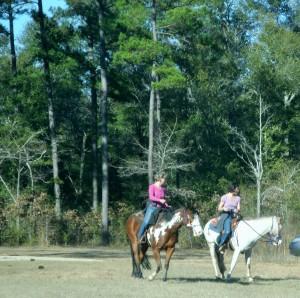 People touring the battlefield on horseback