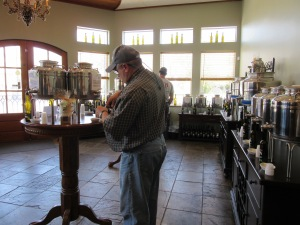 Tasting oil and vinegar blends at Pass Christian Olive Oil and Vinegar