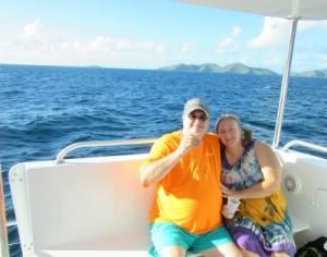 Cuddling on the catamaran while enjoying the journey