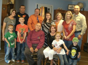 "Jim's ""crew"" as we celebrated Clarissa's  (Ctr in black and white) graduation from Shawnee Junior College in May 2014"