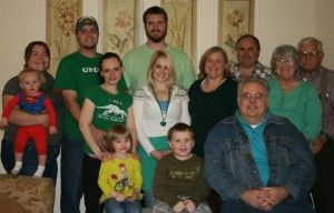 My side of the family gathering on St. Patrick's Day in 2014 (hence all the green)