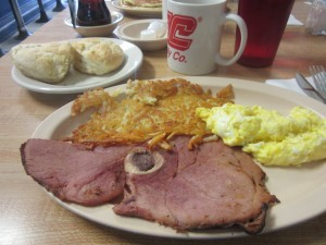 Eggs, hash browns, and ham steak for Angela