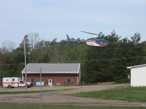 Helicopter as it heads to hospital with patient