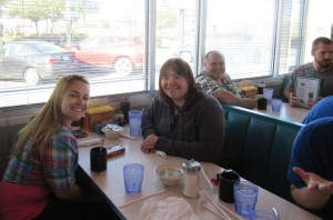 Eating breakfast at the Diner on Abercorn