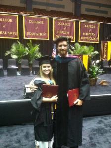 The graduates: Dr. Nathaniel Luke Angus and Rachel Marie Angus, M. A. Ed.