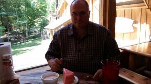 Strawberry cake and ice cream - both