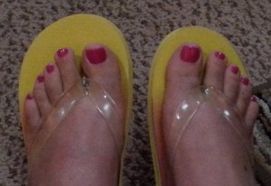 Toes after pedicure scheduled for after pool time today