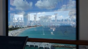 Miami (seen through the glass on deck) as we leave