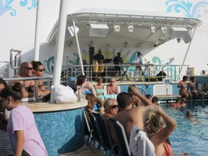 Pool, hot tubs, and music on upper deck areas