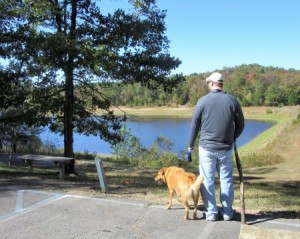 Nathaniel and Chewie checking out the lake after we finished the first trail