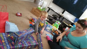 Opening birthday gifts at home