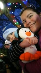 Sammy, Mommy, and the penguin Sammy won