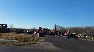 Clearing tornado damage along Hwy 64 in Wayne Co., TN