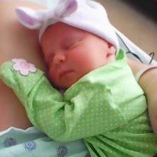 Sweet Abby while still in hospital with Momma