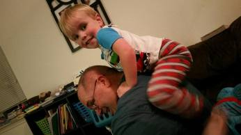Sammy playing with Papa Dude
