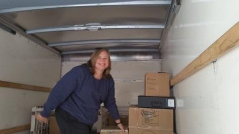 Angela unloading
