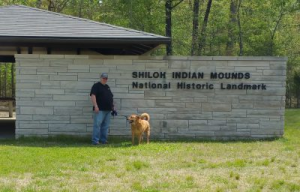 Jim and Chewie at the Shiloh Indian Mound Historic Site Center