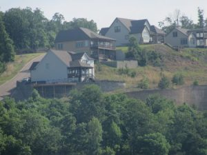 Houses along the hillside, lake view, nice