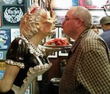 Jim trying to get a kiss - Anchor Bar, Buffalo, NY