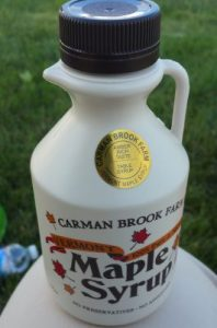 Our purchase - fresh from the farm maple grove syrup
