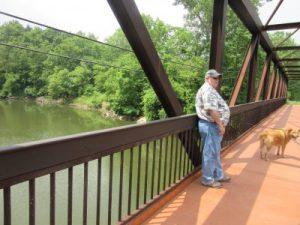Walkway bridge over river