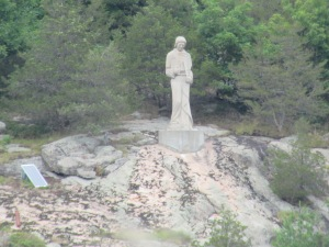 St. Lawrence watching over the river with his name
