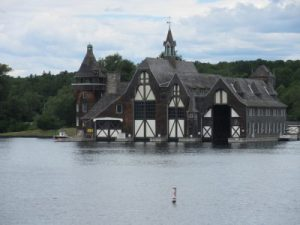 The boat house, located on a nearby island