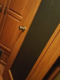 Black contact paper on bedroom door glass for better napping