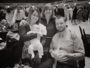 The four of us at reception (red lights made us red, so I turned it black and white)