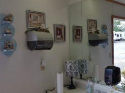 Women's restroom sink area