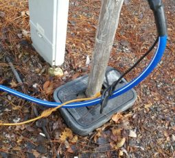 Heated hose plugged into extension cord