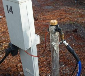 Site water faucet is wrapped and heated.