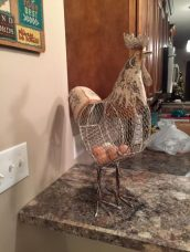 Kelly's rooster egg holder from us (she raises chickens)