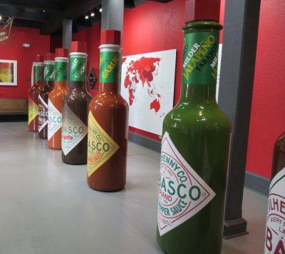 Over-sized hot sauce bottles