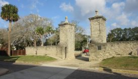 Original city gates and partial wooden wall replica