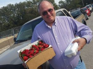 Jim with strawberries and eggs