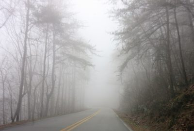 Driving up Cheaha Mtn