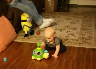 Crawling and learning to make the turtle spin