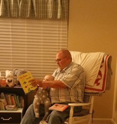 Papa Dude reading Hershel to sleep