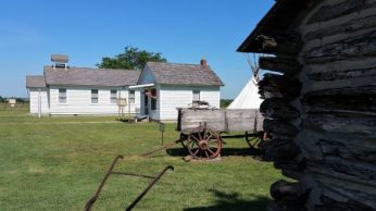School and Post Office seen from replica of Ingall's cabin
