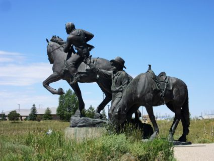 Statue portraying Pony Express