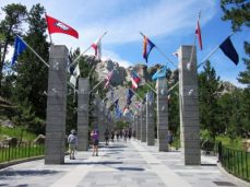 Avenue of Flags leading to memorial