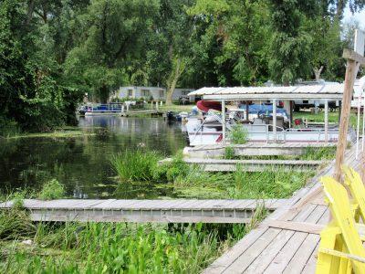 Docks water side of Boom Bay Bar & Grill