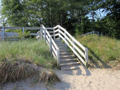 Steps from beach to boardwalk