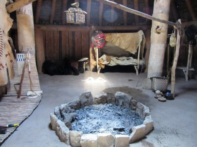 Fire for heat and cooking, beds for families around outer wall
