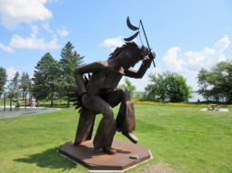 Statue in park along side Lake Bemidji