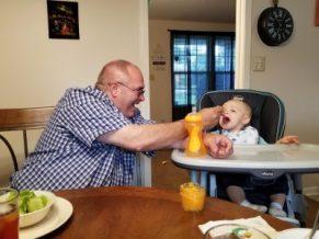 Jim (Papa Dude) feeding Hershel